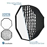 "LimoStudio 32"" Diameter Octagon Umbrella Reflector Soft Box with Honeycomb Grid and White Lighting Diffuser Cover for Soft Lighting, Photo Video Studio, AGG2599"