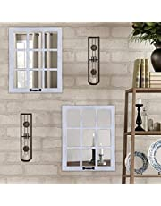 LOSOUR Decorative Mirror-Distressed Wood Windowpane Mirror- Rustic Home Decoration Window Frame Wall Mirror with Hanging Hardware for Farmhouse Bedroom Living Room Bathroom Kitchen