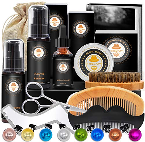 Upgraded Beard Grooming Kit w/Beard Conditioner,Beard Oil,Beard Balm,Beard Brush,Beard Shampoo/Wash, Beard Shaper,Beard Comb,Beard scissors,Storage Bag,Beard E-Book,Beard Growth Care Gifts for Men (Men Birthday Gift Ideas)