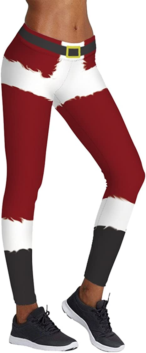 Tamskyt Womens Digital Print Chic Ugly Santa Christmas Sweater Stretchy Leggings Footless Funny Costume Tights