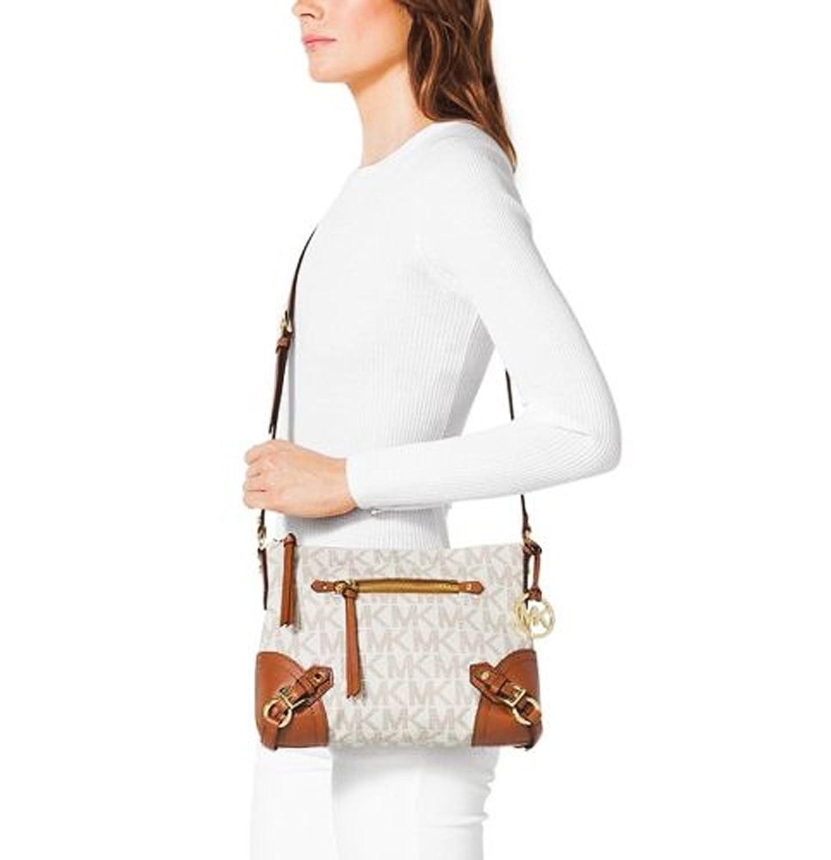 bcd8621e22480e Gallery Michael Kors Womens Fallon MK Logo PVC Vanilla Amazon.co.