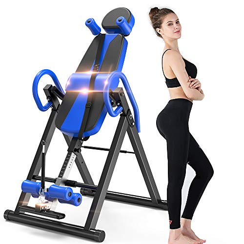 Bigzzia Gravity Heavy Duty Inversion Table with Headrest & Adjustable Protective Belt Back Stretcher Machine for Pain Relief Therapy … (Blue)