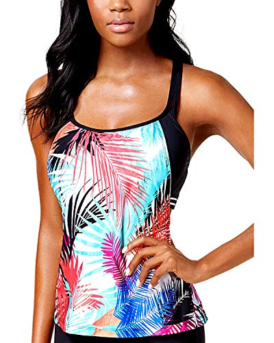 - Jag Multi Tropical-Print Cross-Back D-Cup Underwire Layered Tankini Top 38D-DD