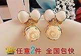 usongs imports commuters rose camellia flowers porcelain long bow earrings earrings small fragrant wind off-white women girls