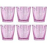 Set of Six Pink Mercury Glass Votive Candle Holders