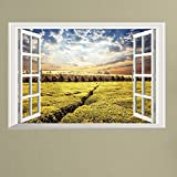 Homefind (33'' w x 23'' h 3D Window Wall Sticker Farm Colorful Autumn Forest with Warm Haze of Fog Nature Picture Living Room Bedroom