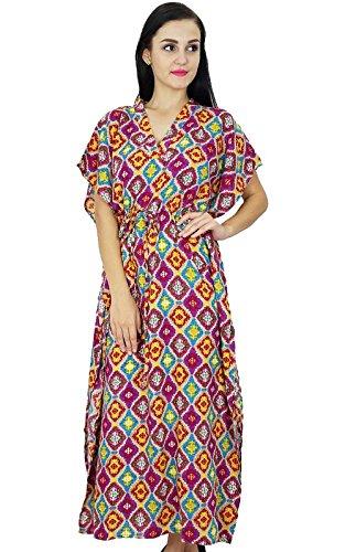 Bimba Frauen Böhmischen Kaftan Nachthemd Kleid Lang Rayon Maxi ...