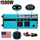 Digital Display Design Car Power Inverter 1500W DC to AC 110V 120V with Outlets & USB Ports Charger for Phone/Laptop/RVS/DVD Player wtih US Standard Plug