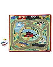 Melissa & Doug Round the Town Road Rug and Car Activity Play Set With 4 Wooden Cars (99 x 91 cm)