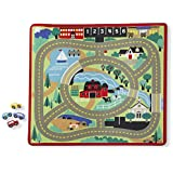 """Melissa & Doug Round the Town Road Rug & Car Set (Cars & Trucks, Safe for All Floors, 4 Wooden Cars, 36"""" W x 39""""L, Great Gift for Girls and Boys – Best for 3, 4, 5, 6, 7 and 8 Year Olds)"""