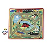 Melissa & Doug Round the Town Road Rug & Car Set (Cars & Trucks, Safe for All Floors, 4 Wooden Cars, 36' W x 39'L, Great Gift for Girls and Boys - Best for 3, 4, 5, 6, 7 and 8 Year Olds)