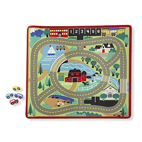 Melissa & Doug Round the Town Road Rug & Car Set (Cars & Trucks, Safe for All Floors, 4 Wooden Cars, 36