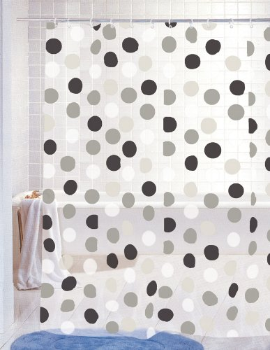 Home Basics Polka Dot Shower Curtain Black Grey Amazoncouk Kitchen