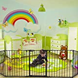SSLine Extra Wide Playard Baby Gate 5 Panel Adjustable Baby Safety Fence Fireplace Hearth Gate, Pet Dog Gate with Walk Through Door Hardware Mounted or Free Standing (123 L x 30 H)'