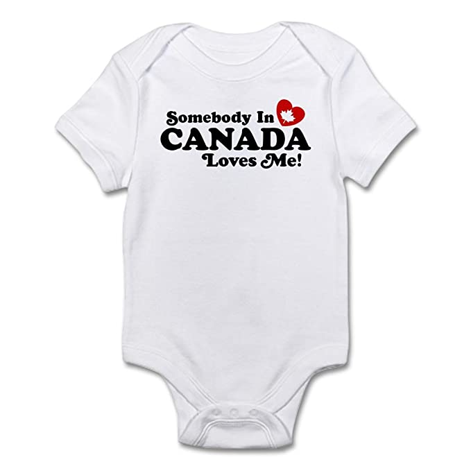 79e9a348e25 CafePress - Somebody In Canada Loves Me Infant Bodysuit - Cute Infant  Bodysuit Baby Romper