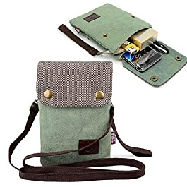 Gcepls Canvas Small Cute Crossbody Women Cell Phone Purse Wallet Bag with Shoulder Strap for iPhone