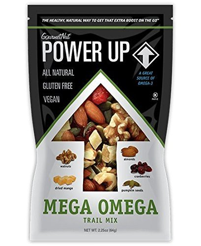 Power Up Trail Mix 100% Natural 8 Snack Bags Protein Packed, Antioxidant Mix, Almond Cranberry Crunch, Mega Omega by Gourmet Nut (Image #6)