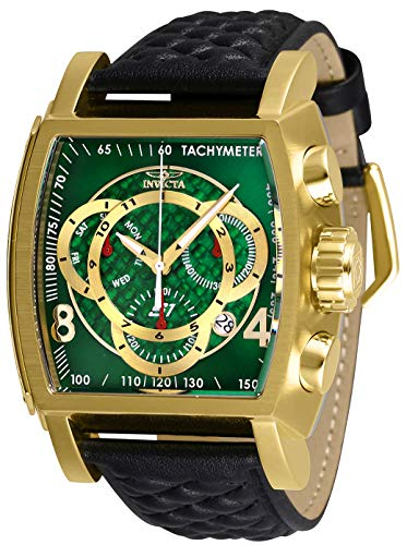Invicta Men's Stainless Steel Quartz Watch with Leather Strap, Black, 26 (Model: 27929) (Invicta Watches For Men Tonneau)