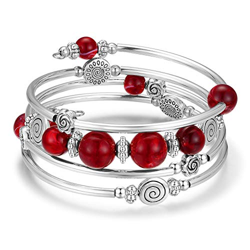 (Wrap Bangle Rose Bead Bracelet - Beaded Bracelet with Natural Agate Stone Gifts for Women Girls (02-Red))