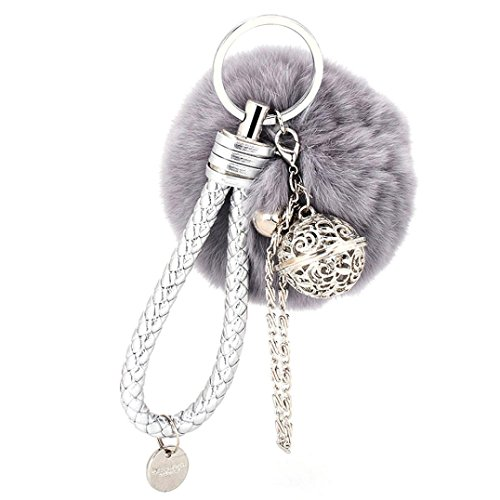 Fullkang Cute Faux Fur Ball Cell Phone Car Keychain Pendant Handbag Charm Key Ring (Belle Gray) (Cell Phone Keychain)