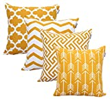 ACCENTHOME Accent Home Square Printed Cotton Cushion Cover,Throw Pillow Case, Slipover Pillowslip for Home Sofa Couch Chair Back Seat,4pc Pack 18x18 in Mustard Color