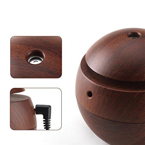 Kmise USB Cool Mist Humidifier Ultrasonic Aroma Essential Oil Diffuser 130ml Light Wood Grain For Office Home Bedroom Living Room Study Yoga Spa (Dark Wood Grain, 130 ml) by Kmise (Image #3)