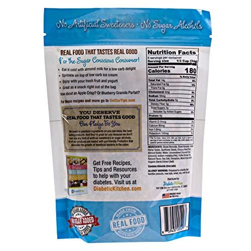 Diabetic Kitchen Almond Butter Keto Granola Cereal - 4g Net Carbs, No Sugar Added, Keto Friendly, Low Carb, Gluten-Free, High Fiber, Non-GMO, No Artificial Sweeteners or Sugar Alcohols Ever (11 oz) 2