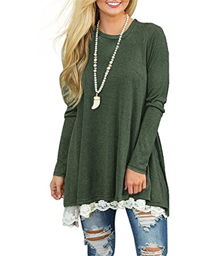 UniDear Women's Lace Long Sleeve Tunic Shirts Long Blouses Tops for Fall Winter Spring Green Small