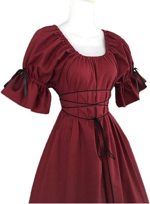 LUCKGXY Vestido Medieval de Mujer, Traje de Escenario de Cuello ...