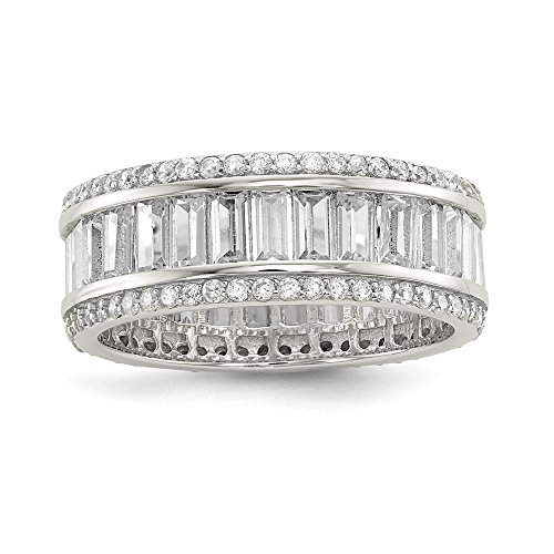 - 925 Sterling Silver Baguette Round Cubic Zirconia Cz Eternity Band Ring Size 7.00 Fine Jewelry Gifts For Women For Her