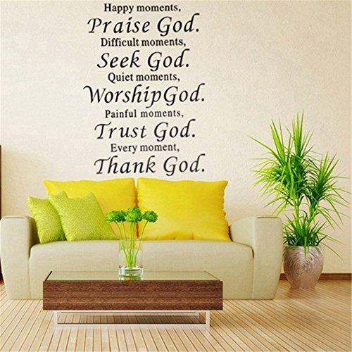 - sticker-sweet Quote Mirror Decal Quotes Vinyl Wall Decals Praise God Seek God Worship God Trust God Thank God Bible