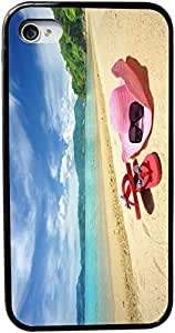 Rikki KnightTM Pink Sunhat Flip-flops On Sandy Beach Design iPhone 4 & 4s Black Case Cover (Black Rubber with bumper protection) for Apple iPhone 4 & 4s