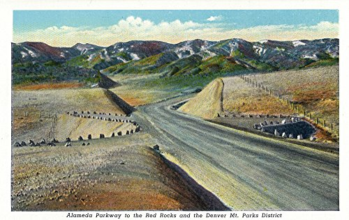 (Colorado - View of Alameda Parkway to Red Rocks and Denver Mt. Parks District (9x12 Art Print, Wall Decor Travel Poster))