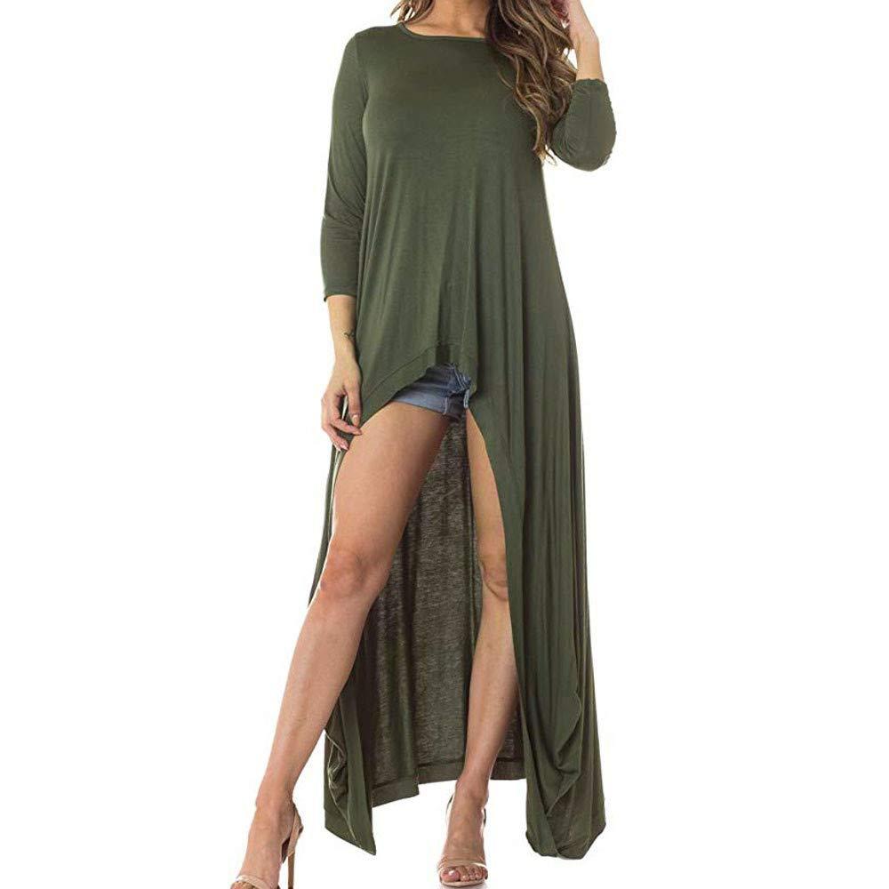 NUWFOR Women's Lantern Long Sleeve Round Neck High Low Asymmetrical Irregular Hem Casual Tops Blouse Shirt Dress(Green,S)