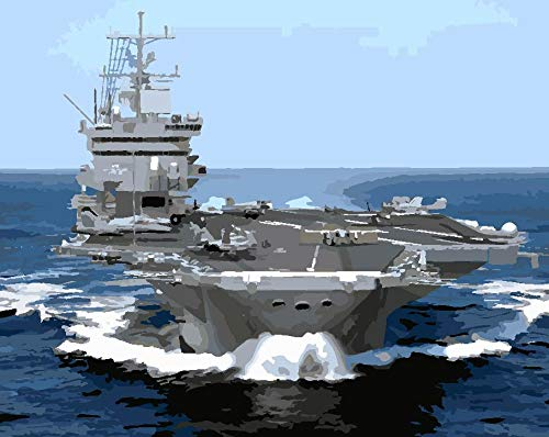 DIY Painting, Paint by Number Kit - Aircraft Carrier 1620 inch Framed