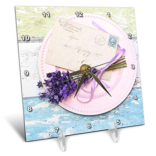 3dRose Uta Naumann Photography Stilllife - Lavender and Letter on Pink Plate on Rustic Wood- Shabby Chic Photography - 6x6 Desk Clock (Lavender Clock Plate)