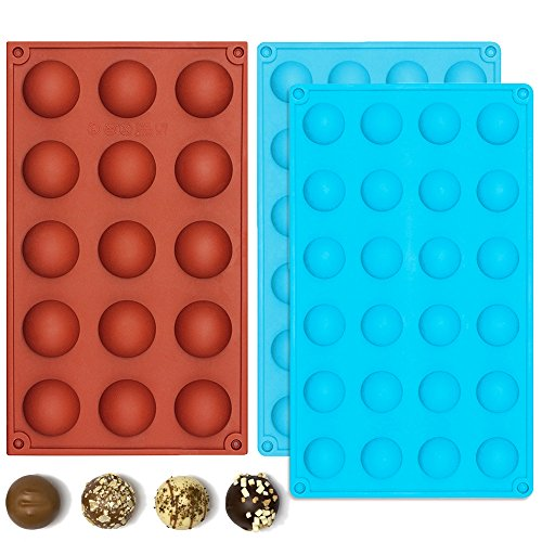 IHUIXINHE Silicone Chocolate Mold, Food Grade Non-Stick Kitchen Baking Trays, Candy Molds For Cake Decoration, Ice Cube (Round)