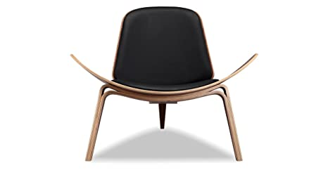 Marvelous Kardiel Tripod Plywood Modern Lounge Chair Black Italian Leather Walnut Andrewgaddart Wooden Chair Designs For Living Room Andrewgaddartcom