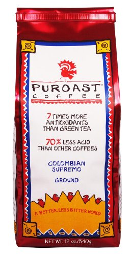 Puroast Low Acid Coffee Colombian Supremo Blend Drip Grind, 12-Ounces Bags (Pack of (Blend Coffee 12 Oz Drip)