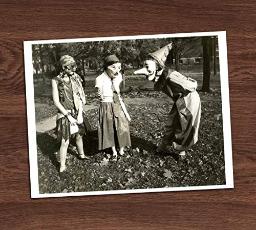 Creepy Group Adults in Costumes Photo Vintage Art Print 8x10 Wall Halloween Decor UNframed -