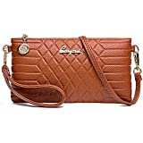 Leather Wristlet Clutch Purses Small Crossbody Bag for Women (orange)