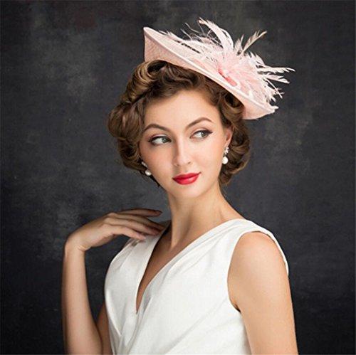 ELEGENCE-Z European Fascinator Linen Pink Top hat Wedding Accessories Royal Party Hat