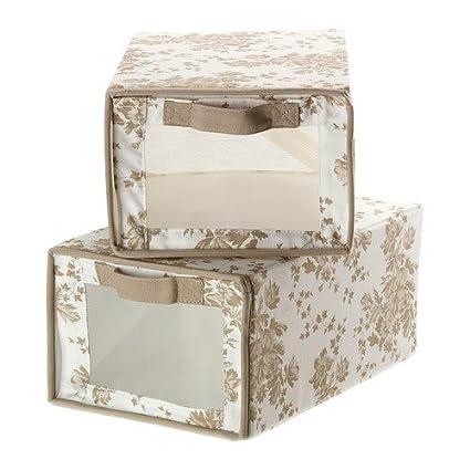 IKEA GARNITYR - cajas de, beige, flores blancas con fondo verde/ , 2
