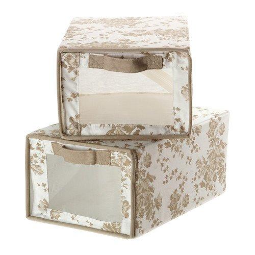 IKEA GARNITYR - cajas de, beige, flores blancas con fondo verde/ , 2 unidades - 22 x 34 x 16 cm: Amazon.es: Hogar