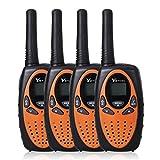 YETION Kids Walkie Talkies 4 Packs Two Radio Long Range 22 Channel UHF Long Range Built-in Microphone Hand Free Toy Walkie Talkie Two Pair (Orange x 4)