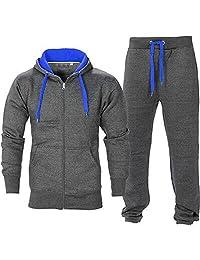 BE JEALOUS Men's Essentials Contrast Fleece Tracksuit Hoodies Bottom Jogger Set