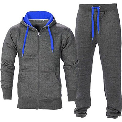 OOPS OUTLET Men's Gym Contrast Jogging Full Tracksuit Hoodies Fleece Joggers Set Large Charcoal/Royal Blue