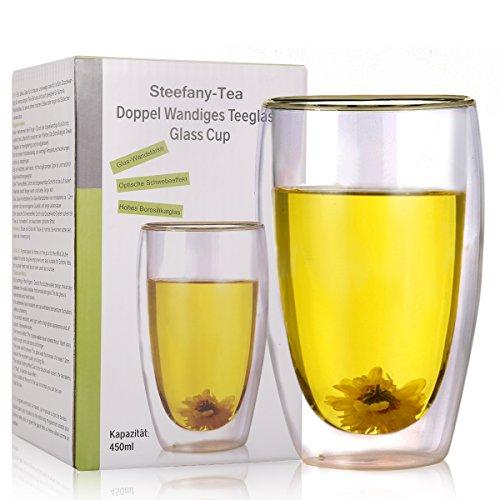 Doppel Wandiges Teeglas, Doppelwandiges Thermo-Glas, Thermo- Gläser große Tassen mit Schwebeeffekt für Milch-Kaffee, Kakao, Tee, Cappuccino, Shake, Smoothie, Cocktail, Eis, Dessert, etc, Transparent, 450ML