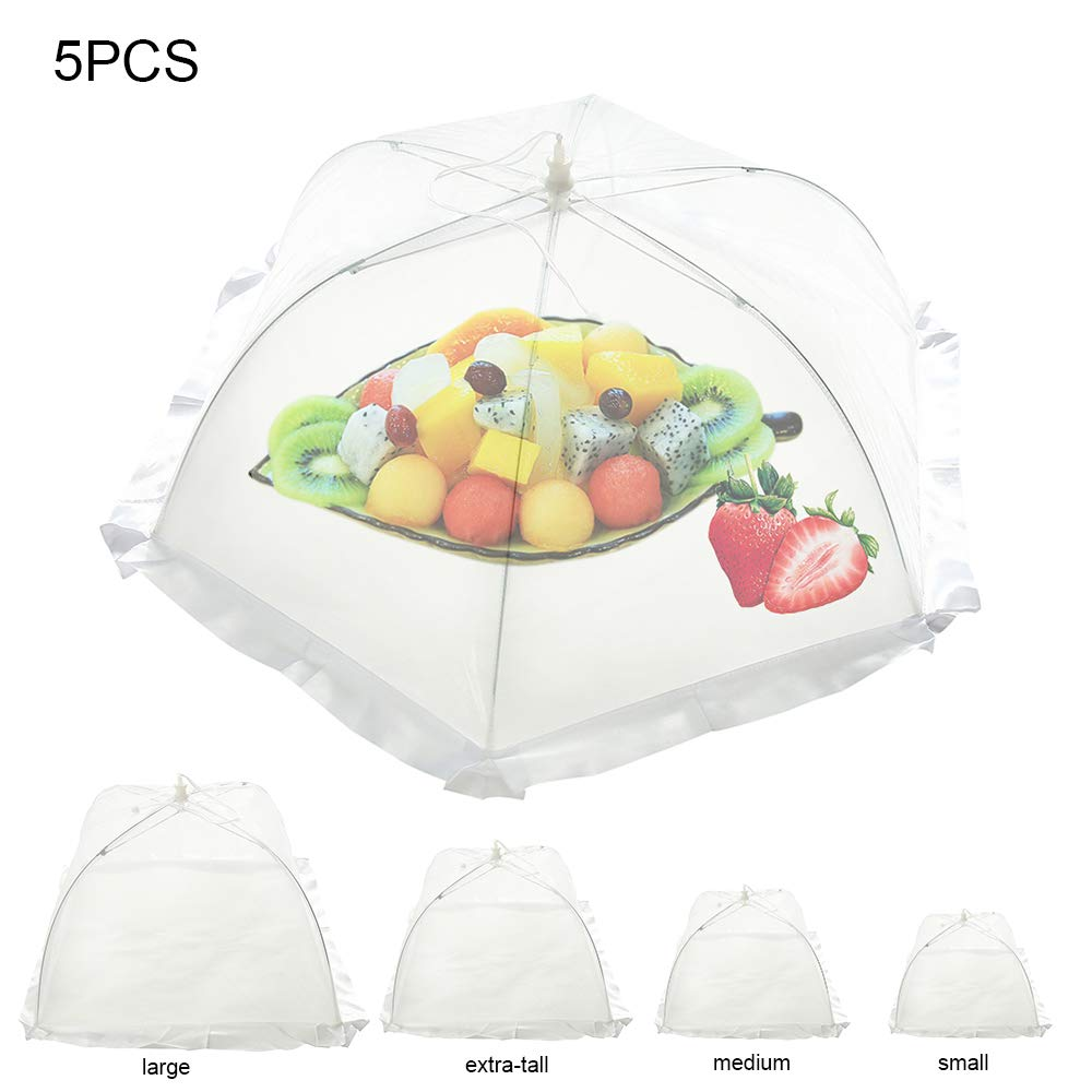 Hootecheu 5 Pack Pop up Mesh Screen Food Cover Tent Umbrella Collapsible in 5 Sizes and a Reusable Carry Bag - Umbrella Screens to Protect Your Food and Fruit from Flies and Bugs at Picnics, BBQ