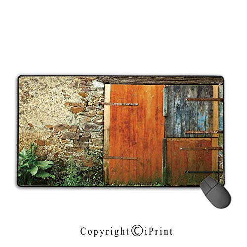Stitched Edge Mouse pad,Shutters,Old Fashion Country House French Entrance Stone Wall Farmhouse Picture Print,Brown Green,Premium Textured Fabric, Non-Slip Rubber Base,15.8